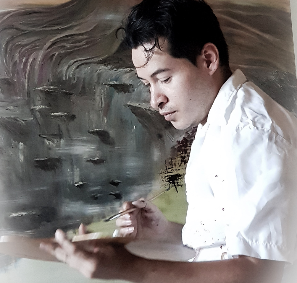 Alejandro Londoño durante el proceso creativo de la obra Magia